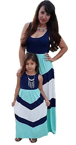 r Tochter Familie Sommerkleid Rundhals Ärmellose Kleider Streifen Stitching Weste MaxiKleid ()