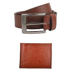 Exotique Mens Tan Casual Belt & Wallet Combo (EC0051TN-XXL)