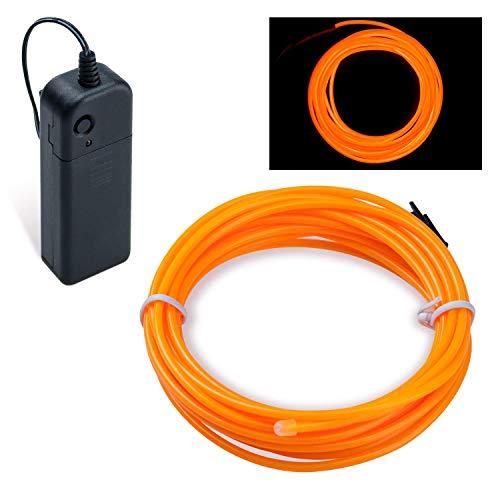 Lysignal Wasserdicht Flexibel 5M 15 FT Neon Beleuchtung Lichtschlauch Leuchtschnur EL Kabel Wire mit 3 Modis für Disco Party Kinder Halloween Kostüm Kleidung Weihnachtsfeiern (Kürbis)