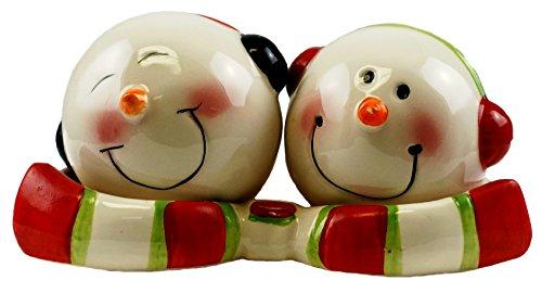 Jolly Snowman Salz- und Pfefferstreuer Set mit Tablett -