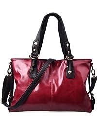 Douguyan Women Vintage PU Leather Tote Bag Shoulder Top-handle Cross Body Handbags