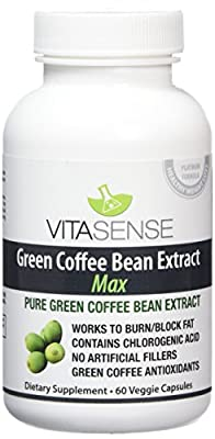 VitaSense 800 mg Pure Green Coffee Bean Extract Max with GCA Capsules - Pack of 60 Capsules from VitaSense
