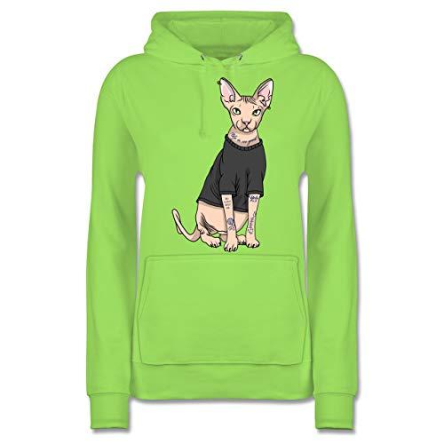 Shirtracer Katzen - Tattoo Sphynx-Katze - XXL - Limonengrün - JH001F - Damen Hoodie