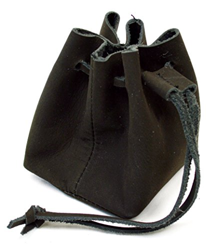 Lederbeutel Kleingeldtasche Mittelalterliche Geldbeutel aus Wildleder (schwarz) schwarz ohne DK