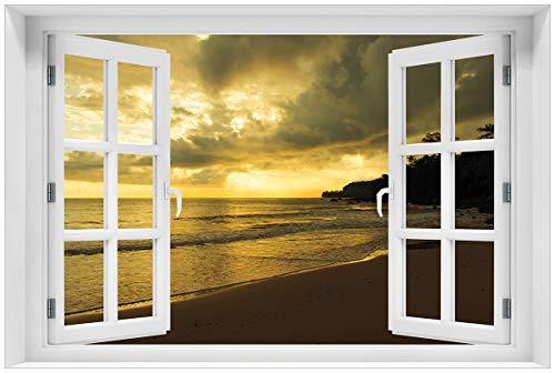 Wallario Acrylglasbild mit Fenster-Illusion: Motiv Badestrand auf den Malediven - Stille am Abend - 60 x 90 cm mit Fensterrahmen in Premium-Qualität: Brillante Farben, freischwebende Optik