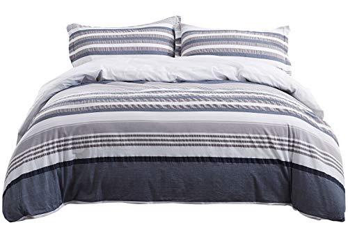 PHF Baumwoll-Seersucker Garngefärbtes Bettbezug-Set mit Streifen, atmungsaktiv, leicht, 3-teilig King Size with Corner Ties Navygrey -