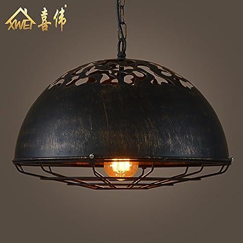 DYBLING Chambre simple et moderne Lustre LED bar corridor industriel lampe de plafond suspendus loisirs vent fer pont tête simple , Diamètre 40 cm * 25 cm de haut