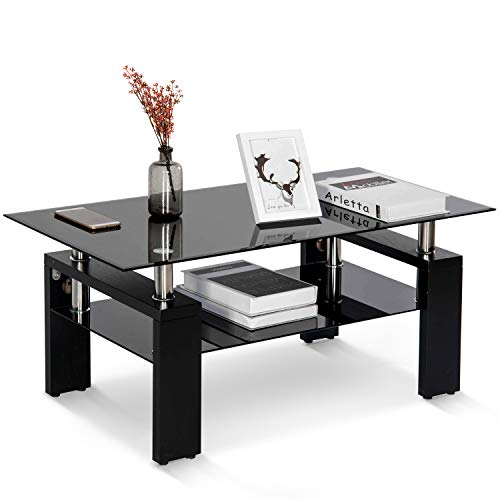 Leisure Zone Glass Chrome Living Room Coffee Table, Black Modern Rectangle Tea Table with Lower Shelf Wooden Legs, Size:L 100 X W 60 X H 45 cm