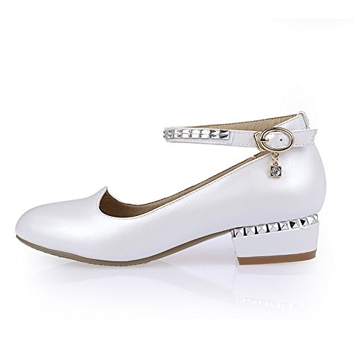 balamasa Femme low-heels Round-Toe Boucle Diamant En Verre Givré pumps-shoes Blanc