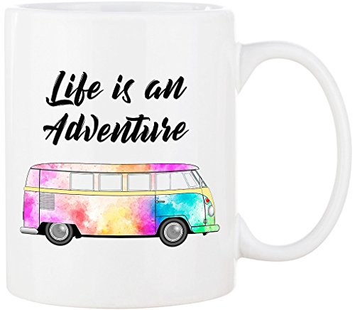 Cadouri - CAMPING-Tasse mit Spruch LIFE IS AN ADVENTURE Kaffeetasse Kaffeebecher Trinkbecher Campingbecher - 300 ml