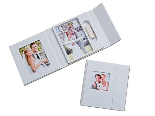 Hochzeit USB-Case mit Fotobox. Kunstleder Weiss.