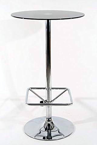 Stehtisch Schwarz rund Glas 104 cm Fußstütze quadratische Fußstütze Bistrotisch Tisch Bartisch