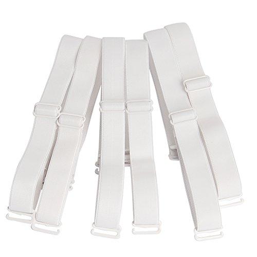 Closecret Lingeries Zubehör Damen Elastisch Verstellbar Abnehmbarer Ersatz-BH Schultergurte 12mm & 15mm Breite Band (3er Pack) (15mm, Weiß) -