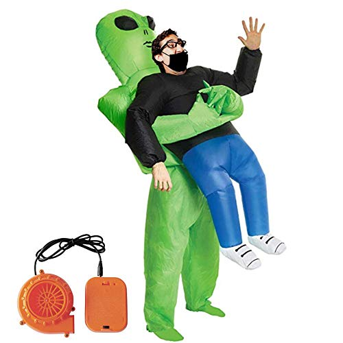 True-Ying Costume Gonfiabile,Halloween Gonfiabile Costume Cosplay Party Costume da Fantasma Verde Hugs Funny Show Puntelli Outfit Air inflazione Tuta con pompetta per Halloween