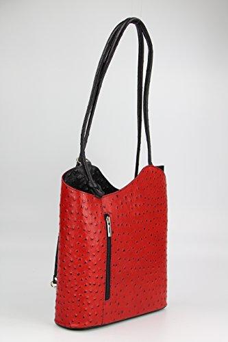 BELLI ital. Ledertasche Belli Backpack 2in1 Damen Rucksack Leder Handtasche Schultertasche - Freie Farbwahl - 28x28x8 cm (B x H x T) Rot schwarz strauss