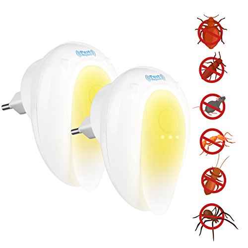 HOVNEE Repelente Ultrasónico,repelente mosquitos.Control de Plagas para Interiores para Cucarachas, Roedores, Moscas, Hormigas, Arañas, Pulgas, Ratones