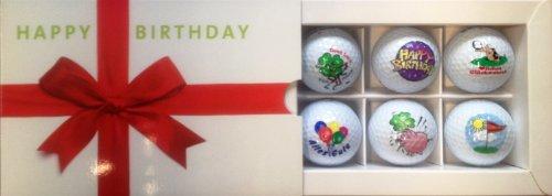 CEBEGO Sixpack Golfbälle Happy Birthday,Golfballset Motiv Geburtstag,Markengolfbälle Golfgeschenke Geburtstag Geschenkartikel