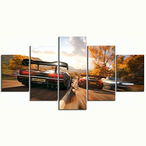CANPIC 5 Pezzi Forza Horizon 4 Gioco Poster Dipinti Car Racing Pictures  Paesaggio Dipinti murali Arte su Tela per la Decorazione Domestica Wall  Art,