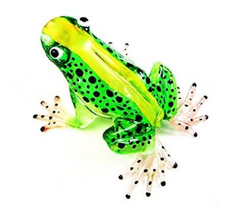 Lampwork COLLECTIBLE MINIATURE HAND BLOWN Art GLASS New Frog, Green FIGURINE