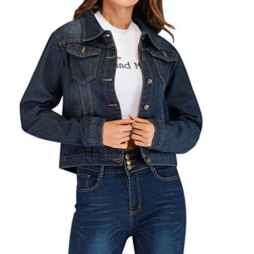 TEBAISE Jeansjacke Damen Denim Jacken Jeans Jacket Button Down Denim Jeans Mäntel 2019 Herbst Winter Frauen Beiläufig Vintage Denim Outwear Langhülse Lose Schwarz Jeans Mantel mit Brusttasche S-2XL