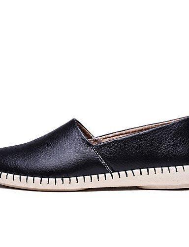 Shangyi Gyht Chaussures Femme-mocassins-loisirs / Décontracté-orteil-plat-cuir-noir / Jaune / Rouge / Orange / Bourgogne Fuchsia