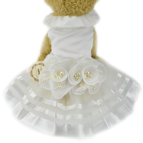 Weiß Perle Blume Hund Puppy Luxus Schleife Kleid Pet Cat Tutu Rock Prinzessin Hochzeit Kleid Hund Chihuahua Kleidung Braut (Kostüme Braut Pet)