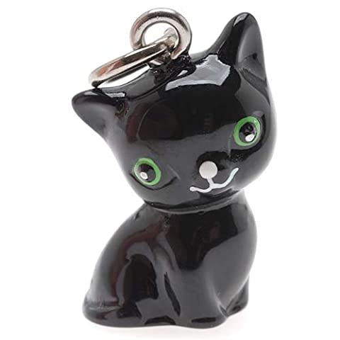 Beadaholique Hand Painted 3D Seated Black Cat with Green Eyes Jewelry Charm, 20mm by Beadaholique