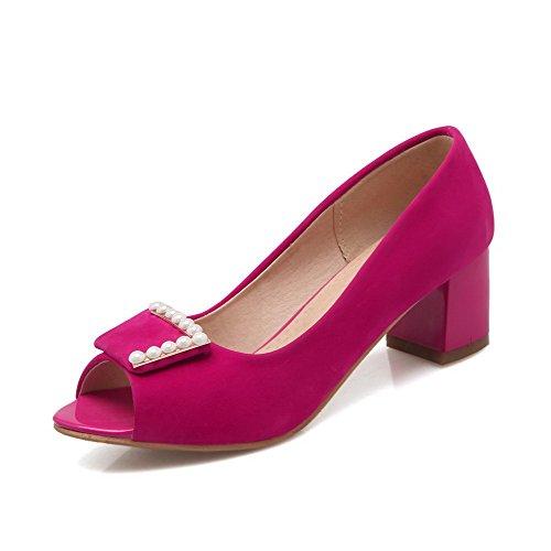AllhqFashion Femme Couleur Unie Tire Ouverture Petite à Talon Correct Chaussures Légeres Rouge
