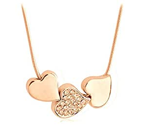 Lily Jewellery 2015 New Love Heart Sparkly Gold Tone Crystal Swarovski Elements Necklace For Women