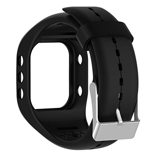 Hunpta Ersatz Soft Silikon Gummi Uhrenarmband Armband für Polar A300 Fitness Uhr (Schwarz)