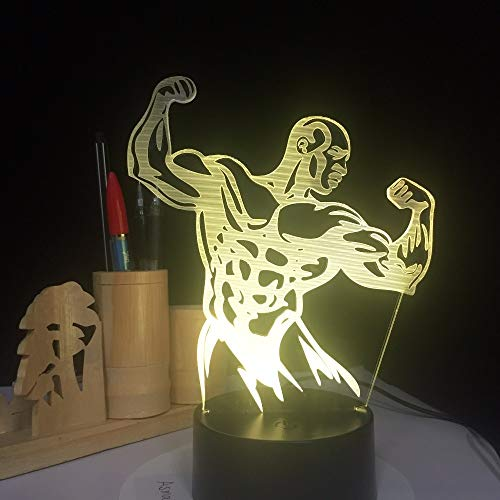 Gym Fitness Mann Hologramm Bunte Touch Control Schalter Lichter Acryl Panel Batterie Leuchtdioden