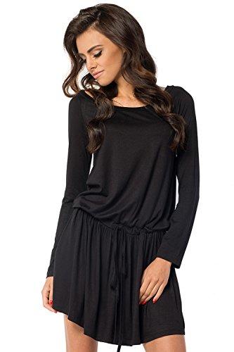 Klassisches Minikleid Longshirt Tunika Top Gr. S M L XL 2XL 3XL, B31 Schwarz