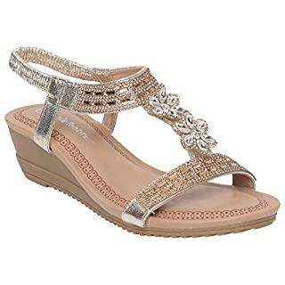 Shop Online Ladies Sandals | Wedge Fish Mouth Sandals | H-Strap Pattern with Sparkling Embedded Stones | Elastic Slingback Strap | Wedge Hill Sandals (5 UK, Gold)