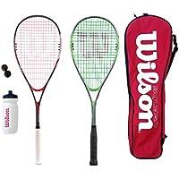 2 x Wilson Kit Squash avec raquette, balles, gourde et sac de 80 &