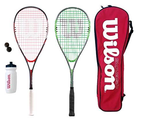 Wilson Squash-Schläger, inklusive Bällen, Wasserflasche und Tasche, 2 Stück