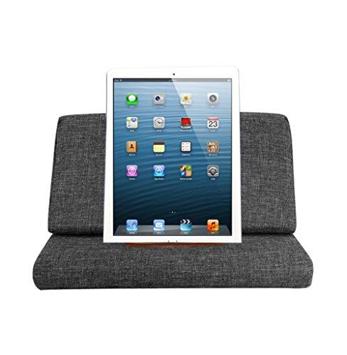 Scoolr Tablet-Halter, Kissen – iPad Kissen Tablet Gepolsterte Ständer Sofa Book Rest Unterstützung Lesen Keilkissen für Bett/Book/iPad/Nexus/Galaxy mit Pocket (Schwarz) (Denim Blue Kissen)