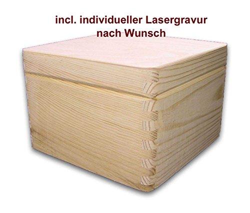 MidaCreativ quadratische Aufbewahrungsbox/Holzkiste CUBE, Kiefer unbeh, incl. Lasergravur (Quadratische Aufbewahrungsbox)