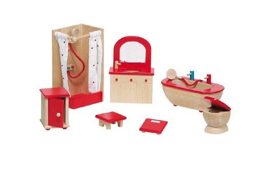 Goki 51959 - Badezimmer, 7-teilig, Puppenhausmöbel