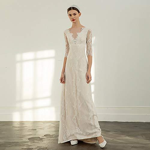 roroz Frauen Braut V-Ausschnitt Spitze Brautkleid mit Ärmeln, Französisch Retro Brautkleid Short Tailing, Hochzeit im Freien Abend Prom Party,White-M -