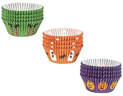 Halloween Cupcake Liner - 300 Stück Halloween Cupcake Wrapper Backzubehör Partyzubehör für Kuchen und Muffin Dekorationen, 3 verschiedene Designs inklusive Kürbis Geist und Spinne Hexe