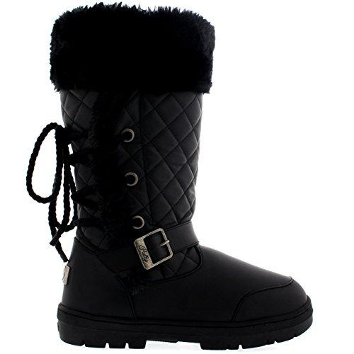 Damen Roap Lace Back Tall Pelz Gefüttert Schnalle Winter Schnee Regen Stiefel Schwarz Leder
