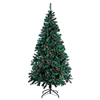 Homfa Artificial Christmas Tree Green Xmas Tree with Pine Cones and Berries Home Christmas Decoration with Metal Stand