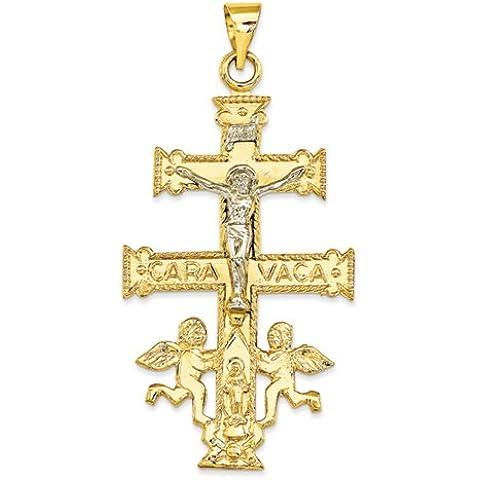 Icecarats Joyas De Diseño 14K En Dos Tonos (Amarillo Y Blanco) Cara Vaca Crucifijo Colgante