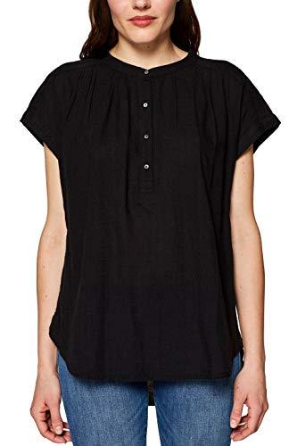 Esprit Kurzarm-bluse (edc by ESPRIT Damen 039CC1F005 Bluse, Schwarz (Black 001), Large (Herstellergröße: L))