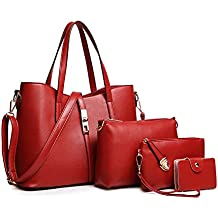 SIFINI Women Fashion PU Leather Handbag+Shoulder Bag+Purse+Card Holder 4pcs Set Tote Bag