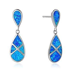 925 Sterling Silber Ohrhänger Ohrringe mit Opal Blau Anhänger Tropfen Schmuck für Damen Mädchen Freundin Tochter – Größe: 28 * 8 mm