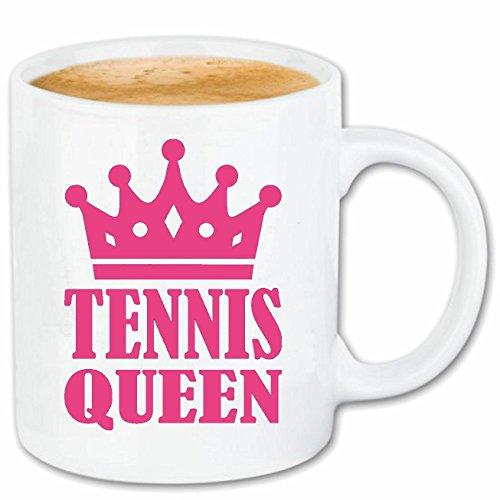 Reifen-Markt Kaffeetasse Tennis Queen - Tennisspieler - TENNISUNTERRICHT - TENNISSCHLÄGER - TENNISPLATZ Keramik 330 ml in Weiß
