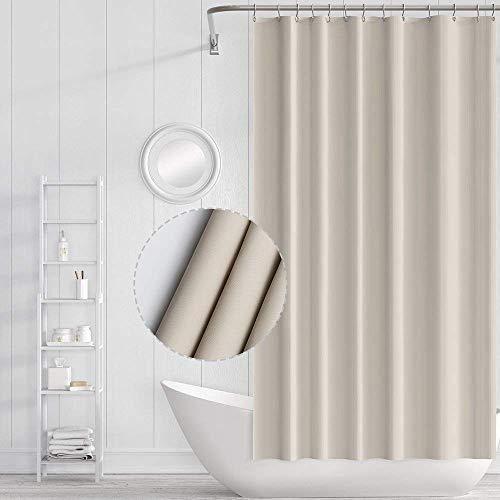Sanitary tenda doccia impermeabile con ganci, resistente alle muffe, antibatterico, facile da pulire, tende da doccia lavabili per il bagno, dimensioni 70 x 70 pollici (beige)
