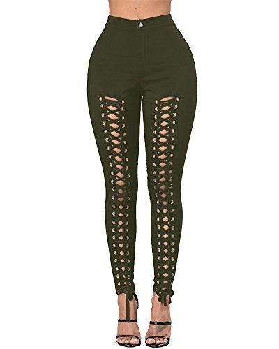 Damen Jeans Stretch Hose Bandage Röhrenjeans Jeanshose Skinny Hoch Taille Hose Armeegrün