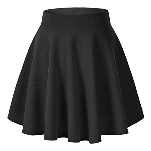 Women's Basic Solid Versatile Stretchy Flared Casual Mini Skater Skirt (X-Large, Black)